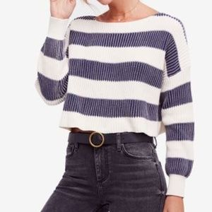 Free People Just My Stripe Cotton Cropped Navy